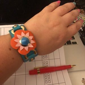 Jewelry - Leather floral blue and orange cuff